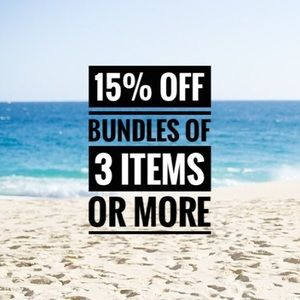 15% off bundles of 3 items or more!!